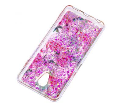"""Чехол для Meizu M6s Блестки вода светло-розовый """"фламинго и кактусы"""" 459272"""