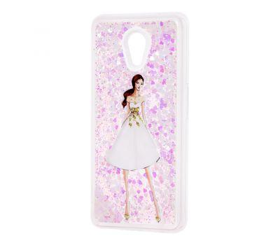 """Чехол для Meizu M6s Блестки вода светло-розовый """"девушка в белом платье"""""""