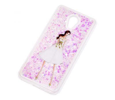 """Чехол для Meizu M6s Блестки вода светло-розовый """"девушка в белом платье"""" 990137"""