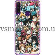 Силиконовый чехол BoxFace Huawei Y6p Anime Stickers (40017-up2458)